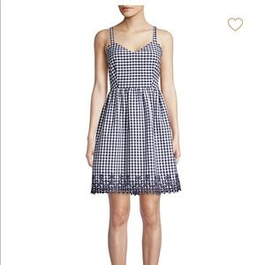 Draper James Embroidered Gingham A Line Dress